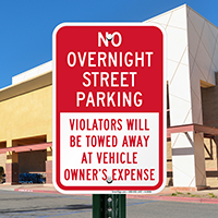 No Overnight Street Parking Signs