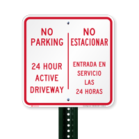 No Parking 24 Hour Active Driveway Bilingual Signs