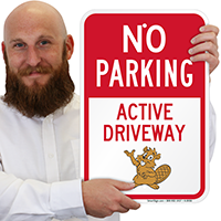No Parking Active Driveway with Graphic Signs