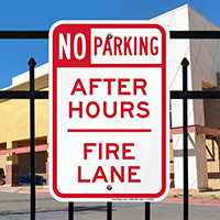 No Parking After Hours Fire Lane Sign