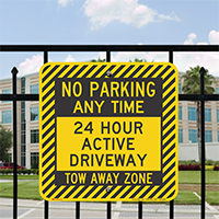 No Parking Any Time, Active Driveway Signs