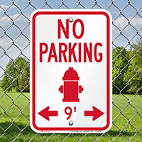 No Parking Around Fire Hydrant Signs