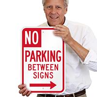 No Parking Between Sign, Right Arrow