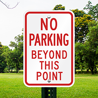 No Parking Beyond Point Signs