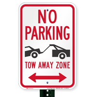 No Parking, Bidirectional Tow-Away Zone Signs
