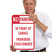 No Parking In Front Of Garage Bilingual Signs