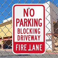 No Parking, Blocking Driveway, Fire Lane Signs