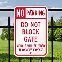 No Parking, Do Not Block Gate Signs
