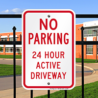 No Parking 24 Hour Active Driveway Signs