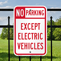 No Parking Except Electric Vehicles Signs