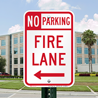 No Parking, Fire Lane At Left Signs