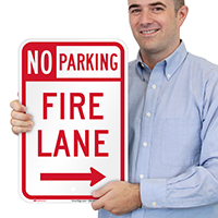 No Parking, Fire Lane At Right Signs