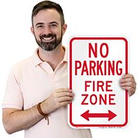 No Parking, Fire Zone, Bidirectional Arrow Signs