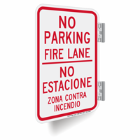 No Parking, Fire Lane, Bilingual Double-Sided Signs