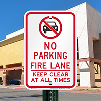 No Parking, Fire Lane, Keep Clear Signs