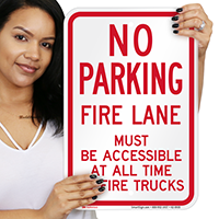 No Parking, Fire Lane Must Be Accessible Signs