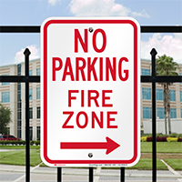 No Parking, Fire Zone, Right Arrow Signs