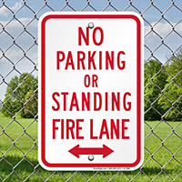 No Parking Or Standing, Fire Lane Signs
