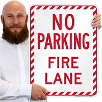 No Parking, Fire Lane, Stripped Border Signs