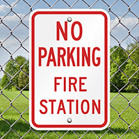 NO PARKING FIRE STATION Signs