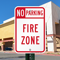 No Parking Fire Zone, Left Arrow Signs