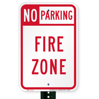 Fire Zone No Parking Sign