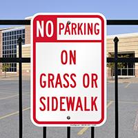 No Parking - On Grass Or Sidewalk Signs