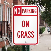 No Parking - On Grass Signs
