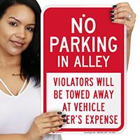 No Parking in Alley, Violators Towed Signs