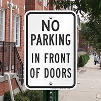 No Parking in Front of Doors Signs