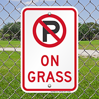 No Parking On Grass with Symbol Signs