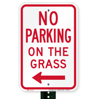 No Parking on Grass Signs, Left Arrow