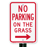 No Parking on Grass Signs, Right Arrow