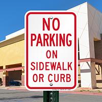 No Parking On Sidewalk Or Curb Signs