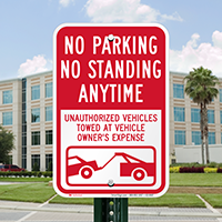 No Parking Or Standing Anytime Signs