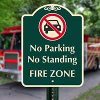No Parking Or Standing, Fire Zone Signs