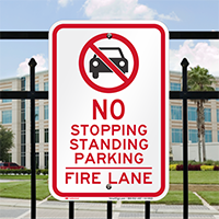 No Parking Or Stopping, Fire Lane Signs