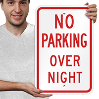 No Parking Overnight Signs