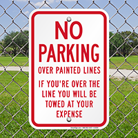 No Parking Over Painted Lines Signs