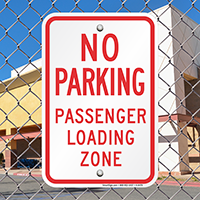 No Parking Passenger Loading Zone Sign