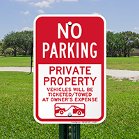 No Parking Private Property Signs
