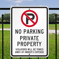 No Parking, Private Property, Violators Towed Signs