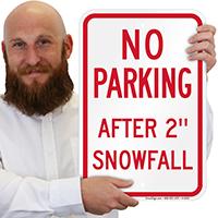 No Parking Snowfall Signs
