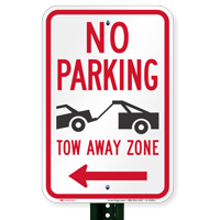 No Parking, Tow-Away Zone In Left Signs