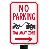 No Parking, Tow-Away Zone In Right Signs