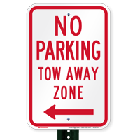 No Parking, Tow-Away Zone, Left Arrow Signs