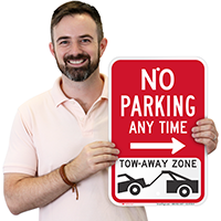 No Parking, Tow-Away Zone Right Arrow Signs