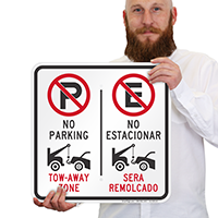 No Parking Tow-Away Zone, No Estacionar Bilingual Signs