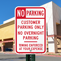 No Overnight Customer Parking Signs
