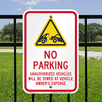 No parking, Unauthorized Vehicles Towed Signs